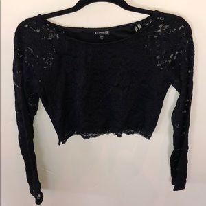 Express Black lace crop top